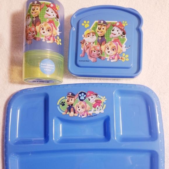 KIDS SCHOOL SNACK BOX /& BOTTLE NEW PAW PATROL 3 PIECE LUNCH BAG SET BLUE